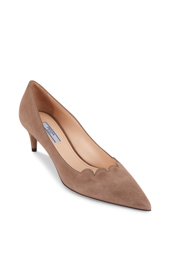 Prada Taupe Suede Scalloped Front Pump, 55mm