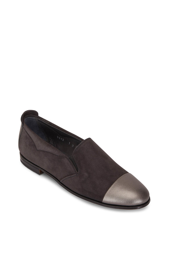Gravati Dark Gray Suede & Leather Cap Toe Flat