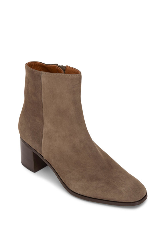 Gravati Taupe Suede Side Zip Bootie, 50mm