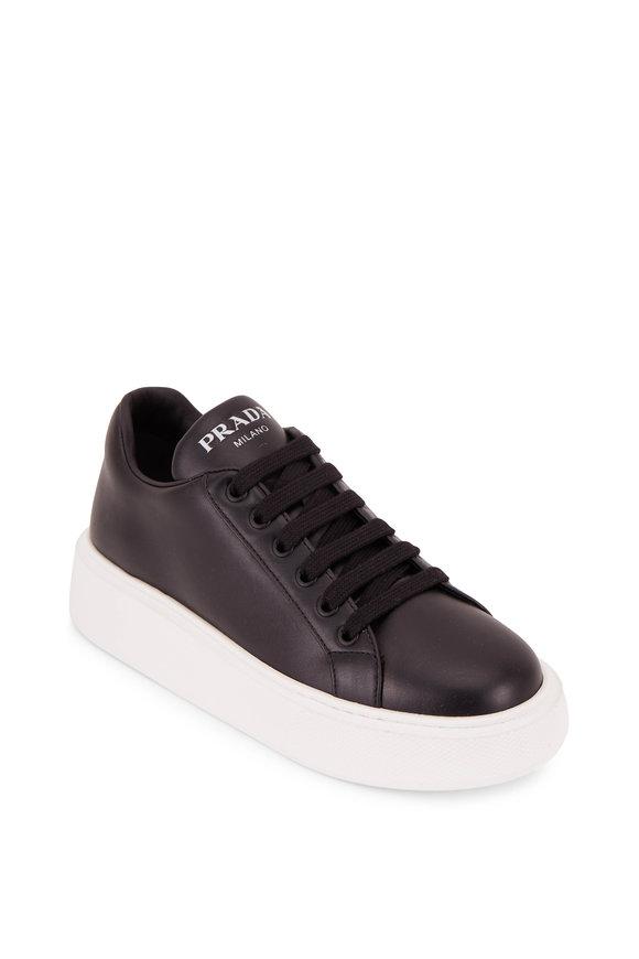 Prada Black Leather Contrast Sole Sneaker