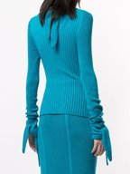 Carolina Herrera - Sky Blue Ribbed Knit Turtleneck
