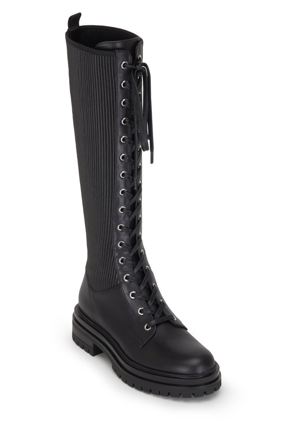 Gianvito Rossi Martis Black Leather & Textile Lace Up Boot