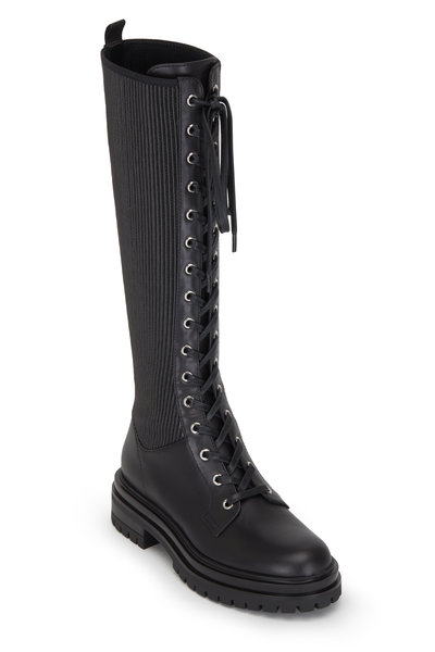 Gianvito Rossi - Martis Black Leather & Textile Lace Up Boot