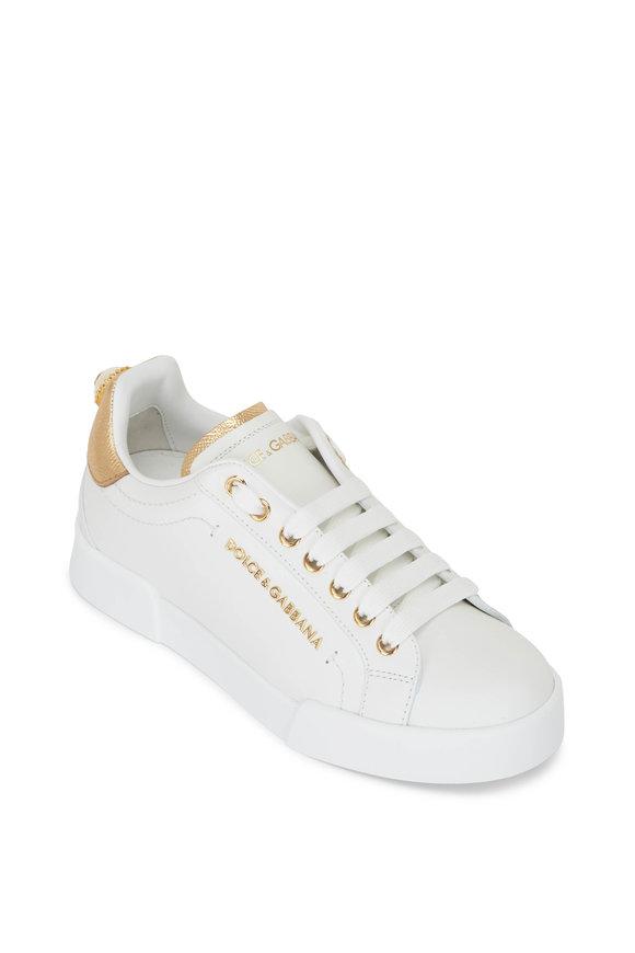 Dolce & Gabbana White Leather & Gold Logo Sneaker