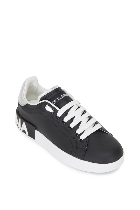 Dolce & Gabbana Black & Silver Leather Logo Sneaker