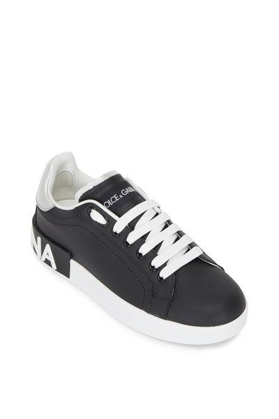 Dolce & Gabbana - Black & Silver Leather Logo Sneaker