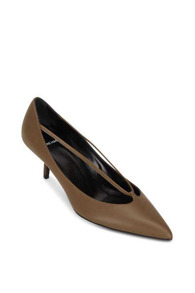 Pierre Hardy - Khaki Leather Pointed Pump, 55mm