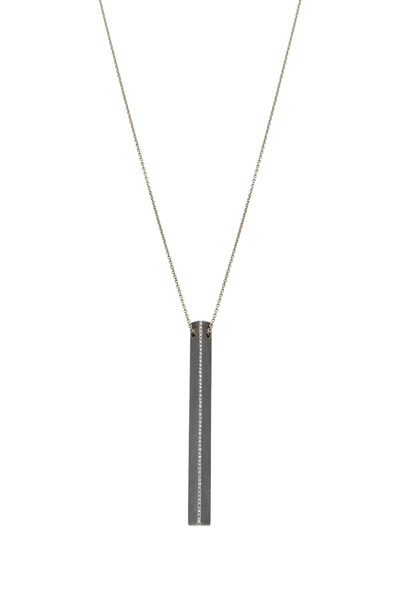 Todd Reed - Gold & Silver Diamond Rectangle Pendant Necklace