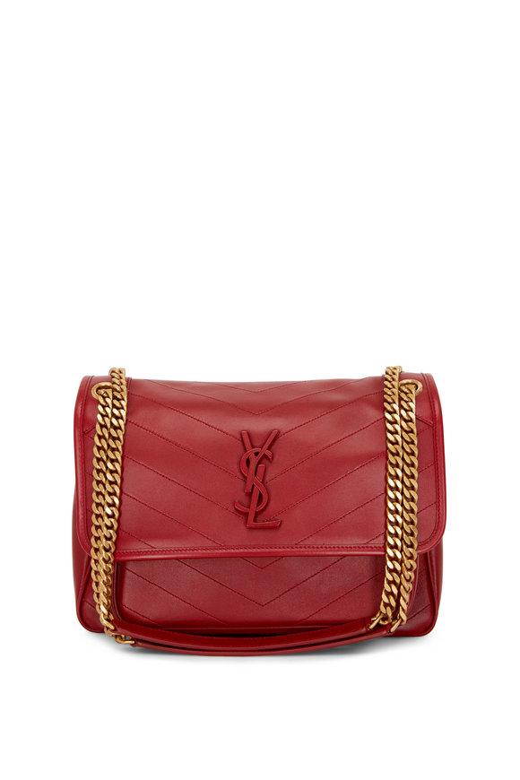 Saint Laurent Niki Monogram Opyum Red Leather Medium Chain Bag