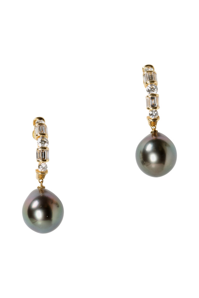 Tahitian Pearl Gold Diamond Drop Earrings