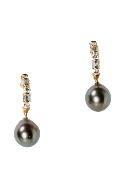 Assael - Tahitian Pearl Gold Diamond Drop Earrings