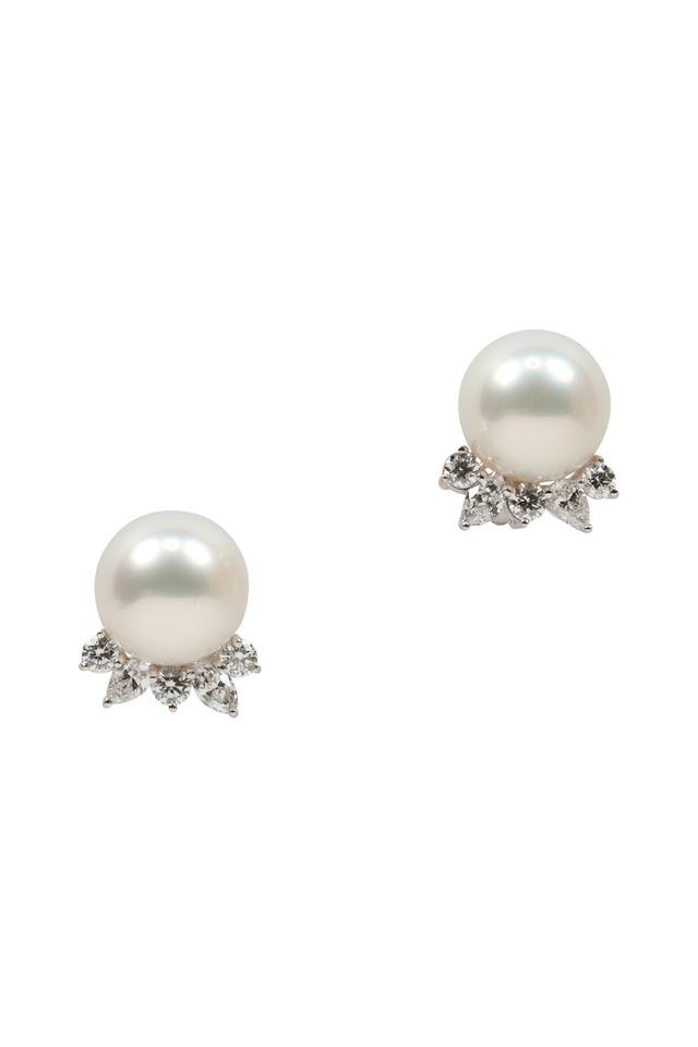 White South Sea Pearl Diamond Earrings