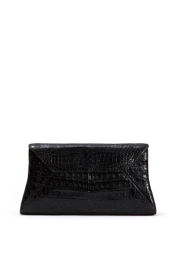 Nancy Gonzalez Black Crocodile Small Envelope Clutch