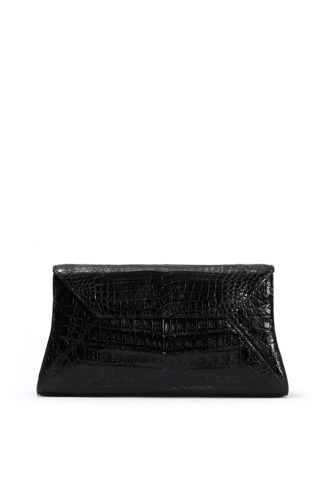 Black Crocodile Small Envelope Clutch