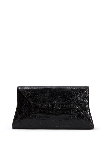 Nancy Gonzalez - Black Crocodile Small Envelope Clutch