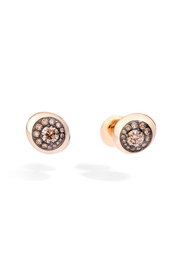 Pomellato 18K Rose Gold Diamond Nuvola Stud Earrings