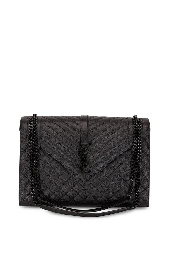 Saint Laurent Monogram Black Leather Large Satchel