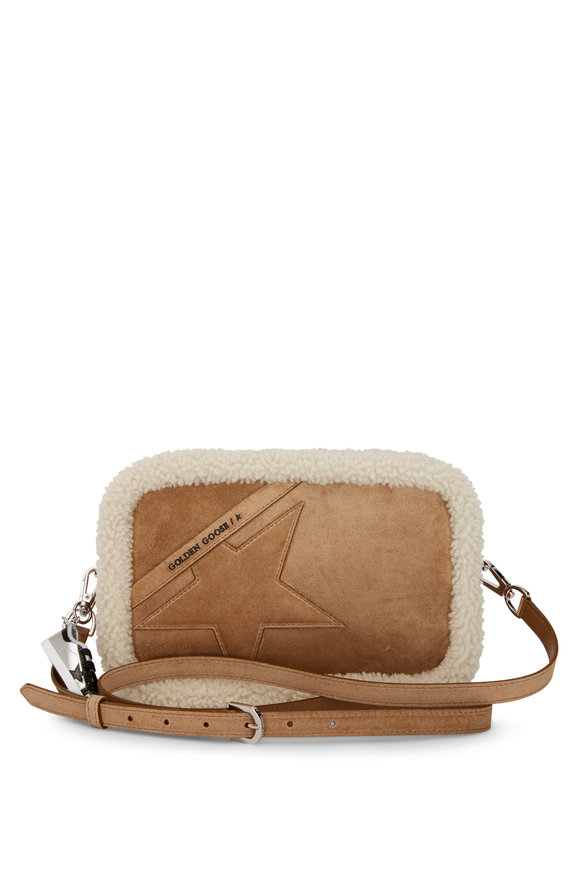 Golden Goose Star Brown Suede & White Shearling Trim Crossbody