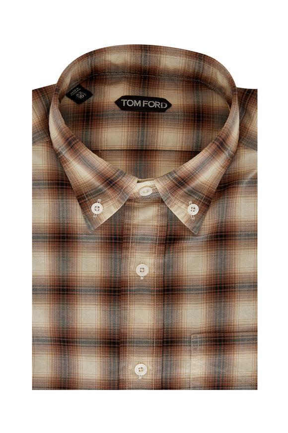 Tom Ford Brown Pale Check Sport Shirt