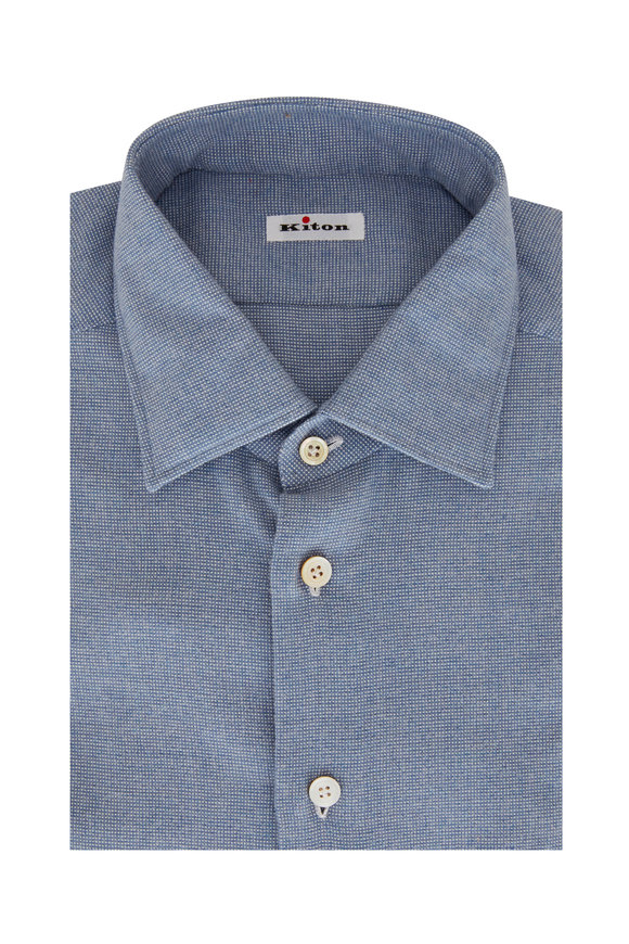 Kiton Light Blue Mini Tic Dress Shirt