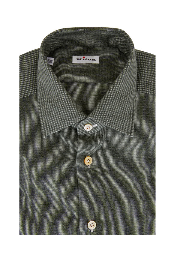 Kiton Dark Green Mini Tic Dress Shirt