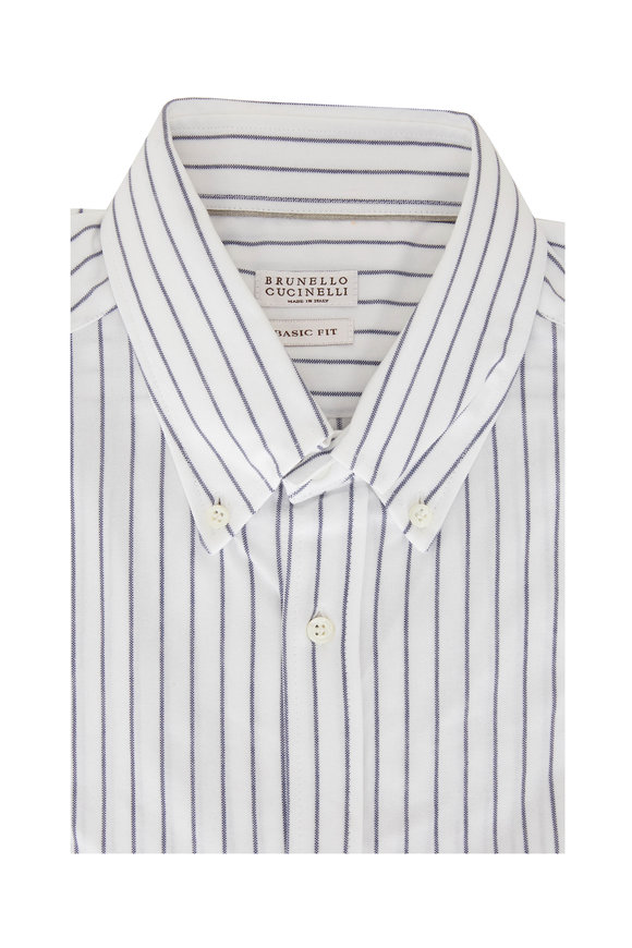 Brunello Cucinelli Navy Blue Striped Basic Fit Sport Shirt