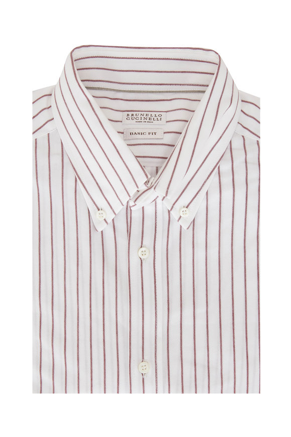Brunello Cucinelli Burgundy Striped Basic Fit Sport Shirt