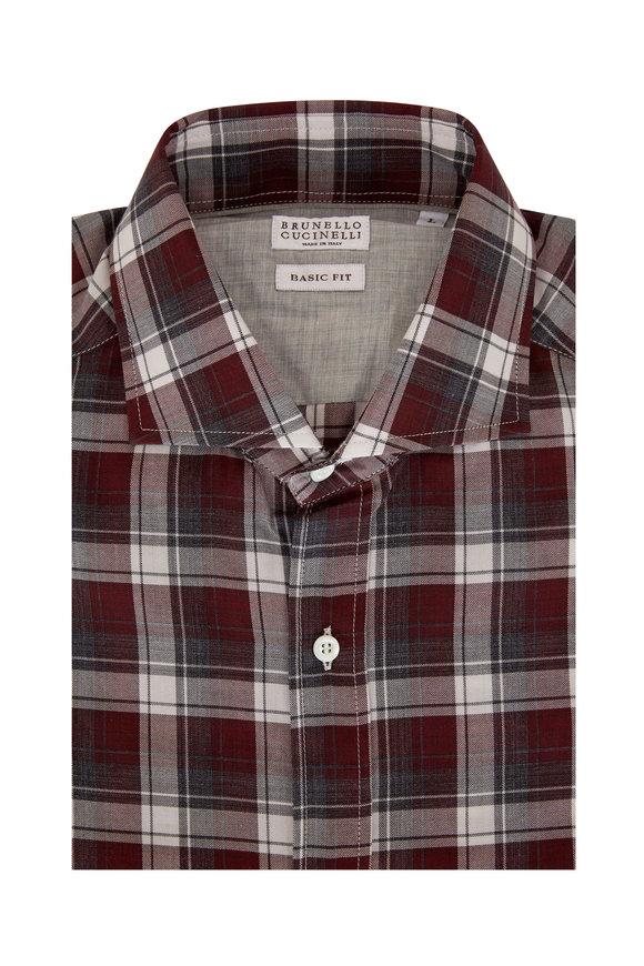 Brunello Cucinelli Burgundy Plaid Basic Fit Sport Shirt