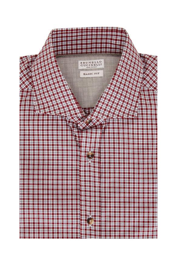 Brunello Cucinelli Cherry Basic Fit Mini Plaid Sport Shirt