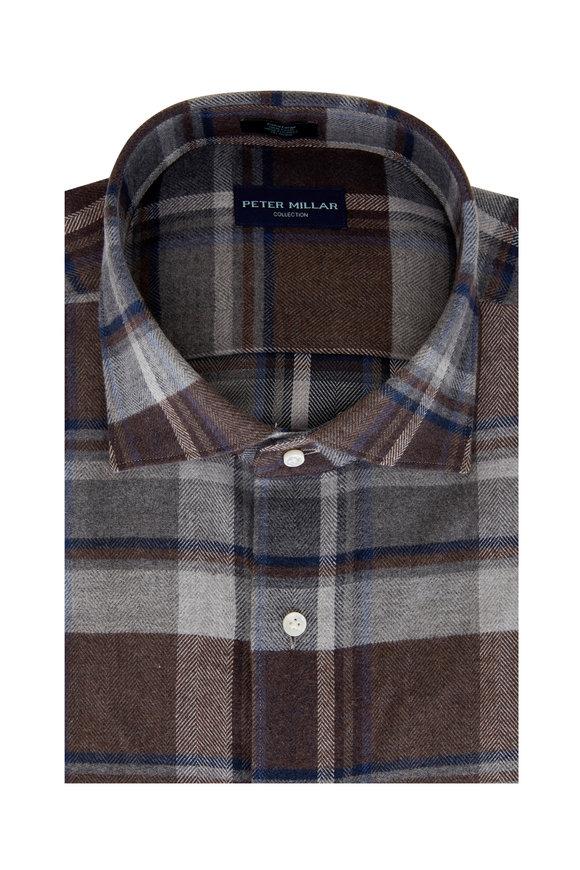 Peter Millar Caven Brown Plaid Sport Shirt