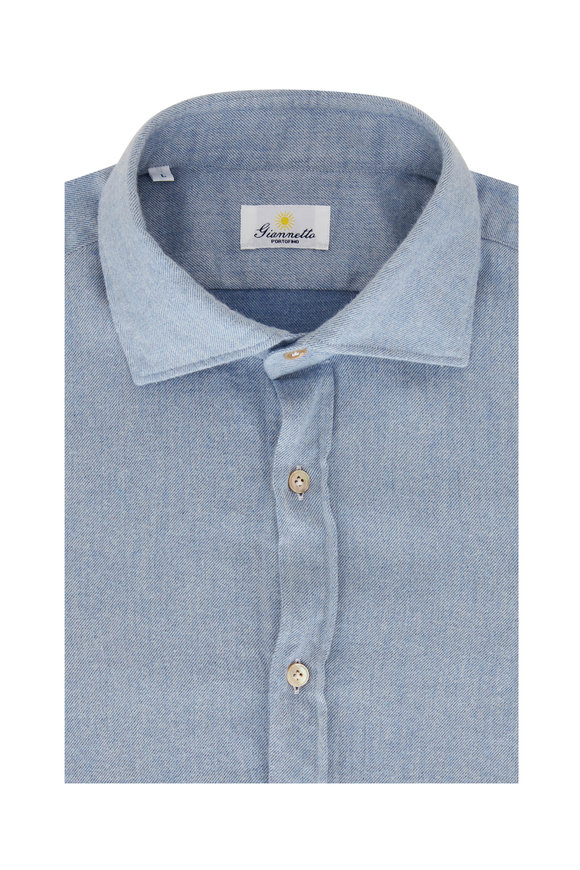 Giannetto Lught Blue Chambray Sport Shirt