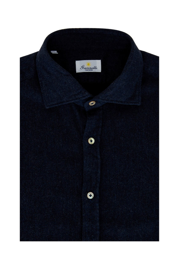 Giannetto Navy Flannel Sport Shirt