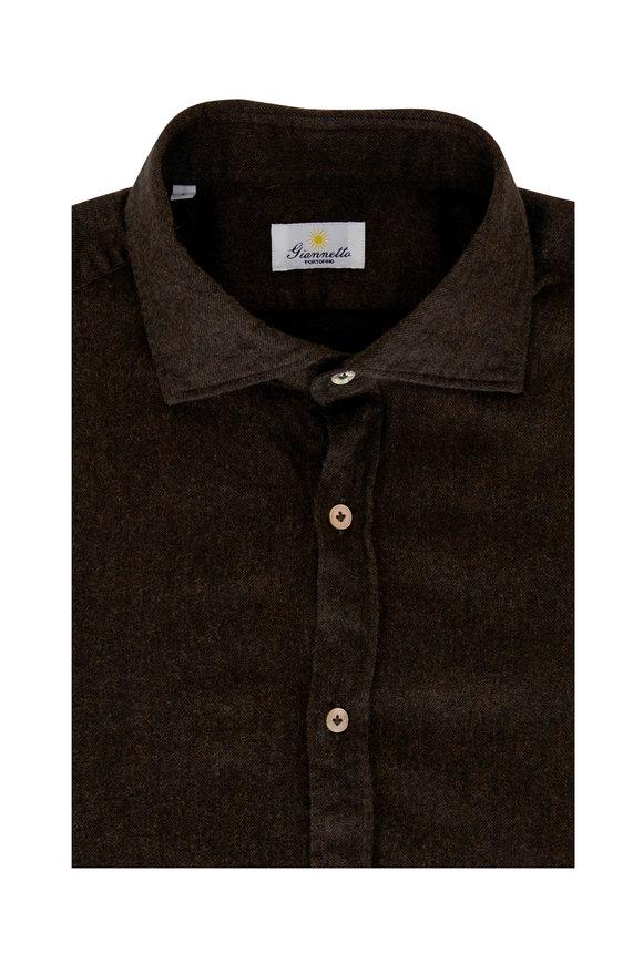 Giannetto Dark Brown Flannel Sport Shirt