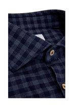 Giannetto - Navy Blue Gingham Sport Shirt