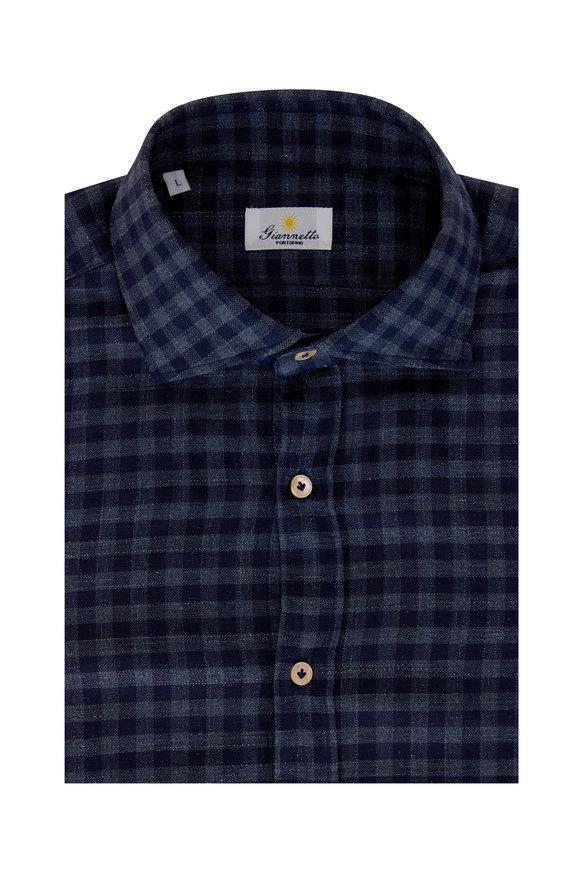 Giannetto Navy Blue Gingham Sport Shirt