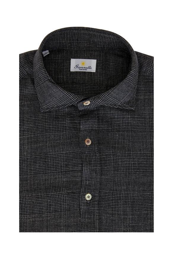 Giannetto Dark Gray Glen Plaid Sport Shirt