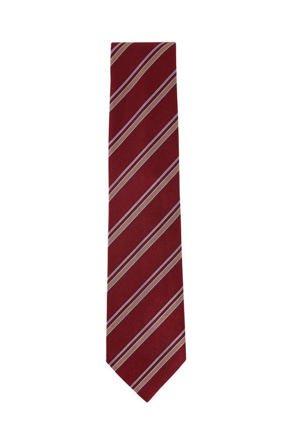 Brioni Red & Brown Stripe Silk Necktie
