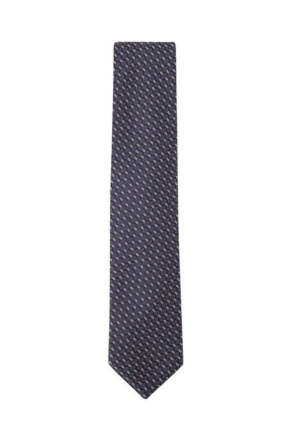 Brioni Teal & Blue Net Pattern Silk Necktie