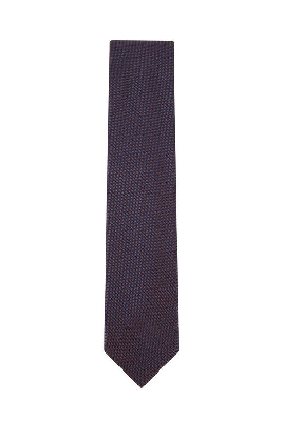 Brioni Blue & Red Mini Check Silk Necktie