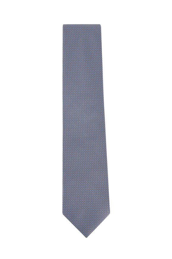 Brioni Blue & Light Blue Geometric Pattern Silk Necktie