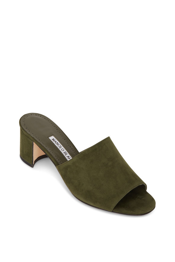 Manolo Blahnik Rapallato Military Green Suede Mule, 50mm
