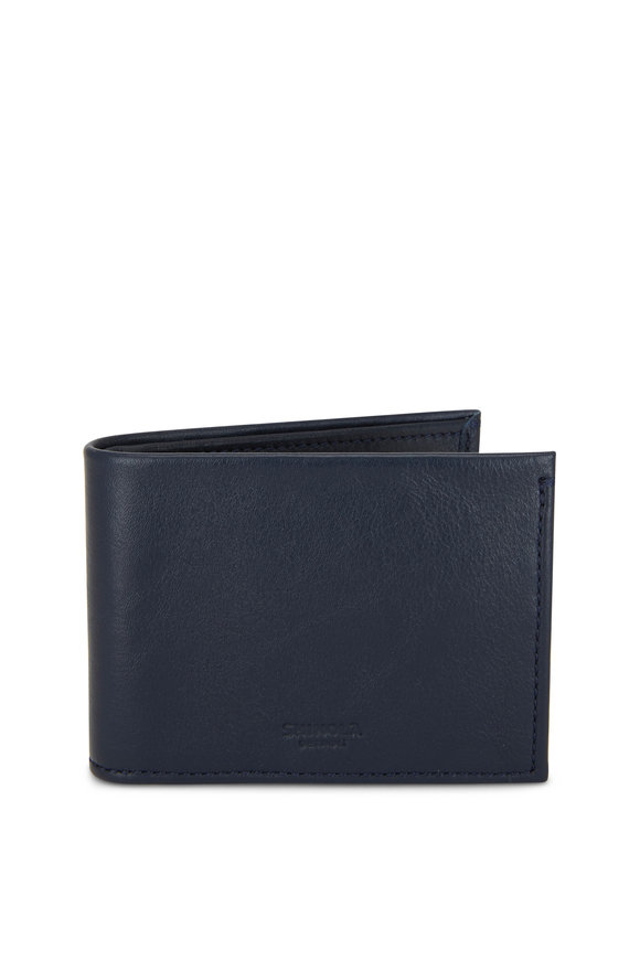Shinola Navy Leather Slim Bi-Fold Wallet