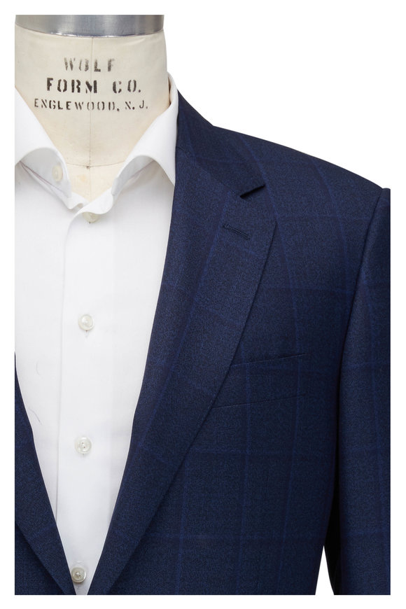 Canali Navy Blue Tonal Windowpane Wool Suit