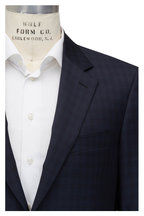 Canali - Navy Blue Tonal Plaid Wool Suit