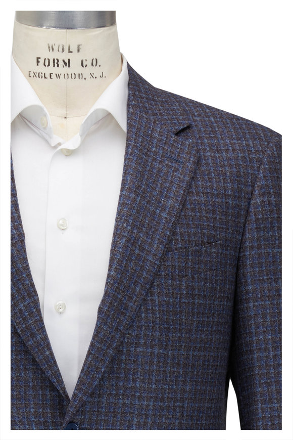 Canali Light Blue & Gray Check Wool Sportcoat
