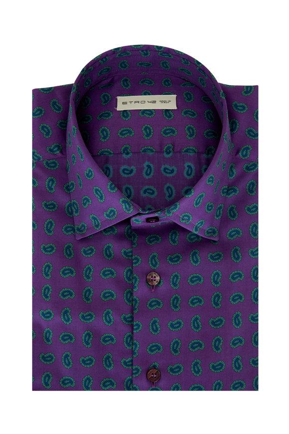 Etro Purple & Green Paisley Sport Shirt