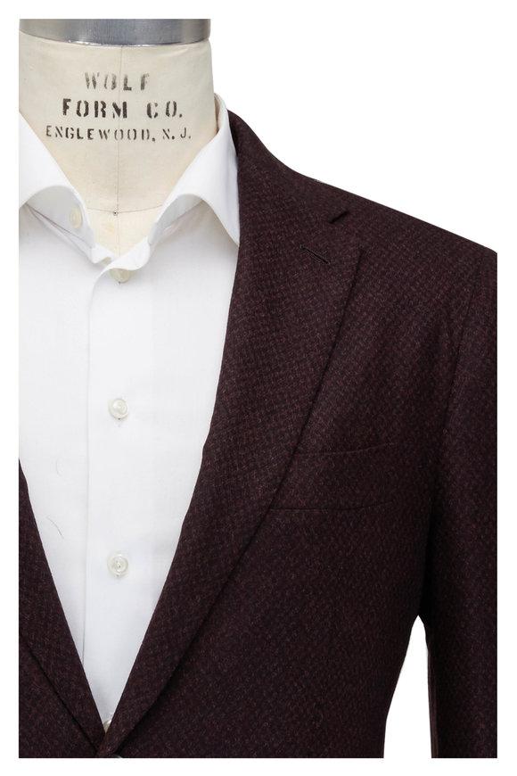 Mauro Blasi Burgundy & Blue Wool & Cashmere Check Sportcoat