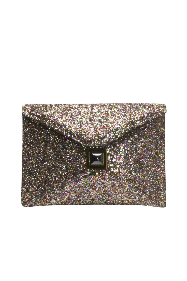 Midnight Glitter Envelope Handbag