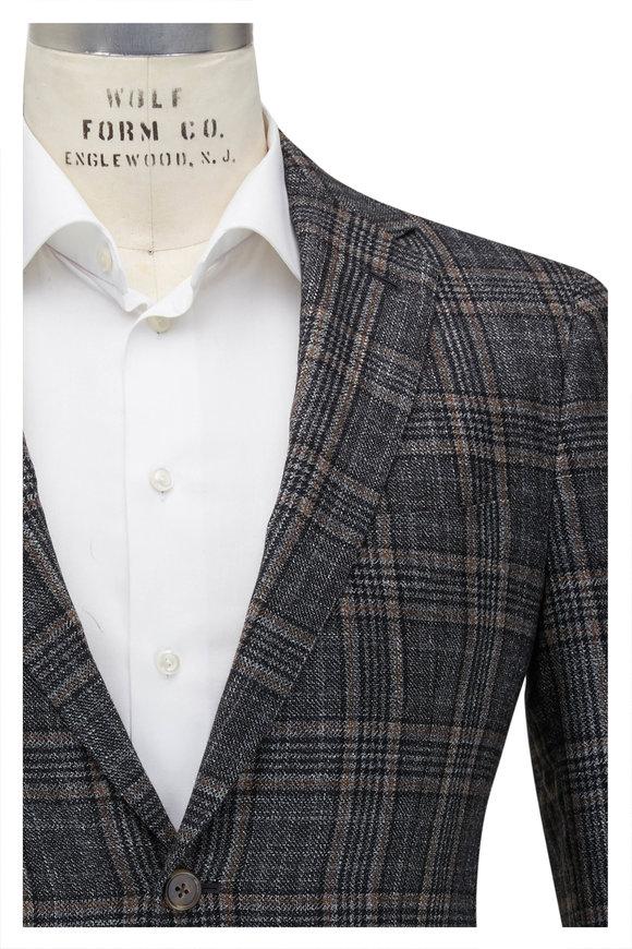 Mauro Blasi Charcoal Gray Plaid Wool Blend Sportcoat
