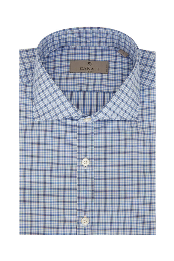 Canali Blue Plaid Sport Shirt